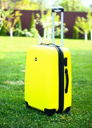 Средний желтый чемодан пластиковый марсала  качество польша валіза дорожня середня