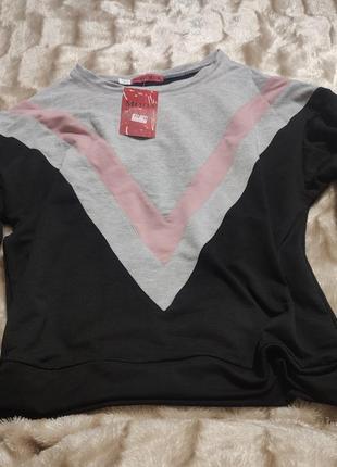 Модный пуловер свитшот трехцветный 44 р.
