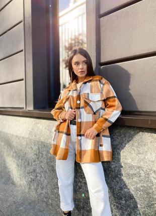 Теплая шерстяная рубашка в стиле zara пальто вовна тепла шерстяна рубашка пальто в клетку