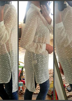 Ассиметричная фактурная рубашка,блузка с разрезами 40-42рр. amaryllis(указан l 14/42)
