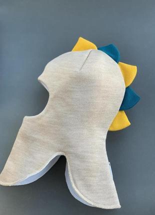 Шапка шлем зимняя дино тёплая