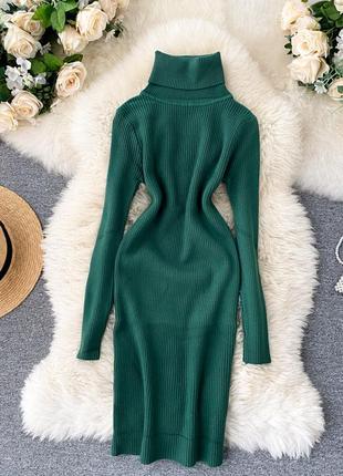 Изумрудное теплое платье в рубчик, зеленое платье с высокой горловиной нефритового оттенка