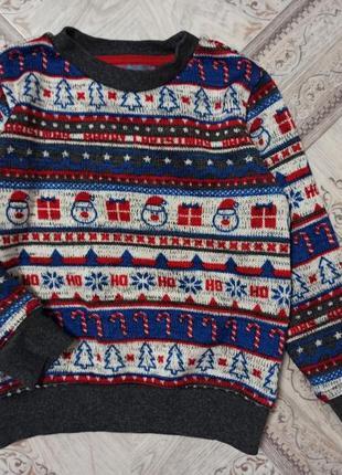 Теплый новогодний свитерок фирмы next,3-4 года