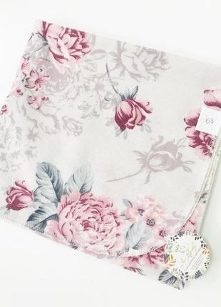 Пеленка фленевая 80*100 цветочный принт фиолетовая розовая