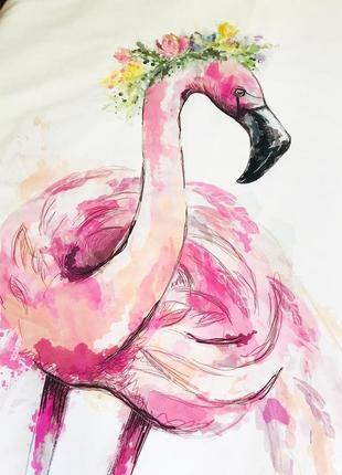 Покрывало на кровать 160*80 двусторонне фламинго
