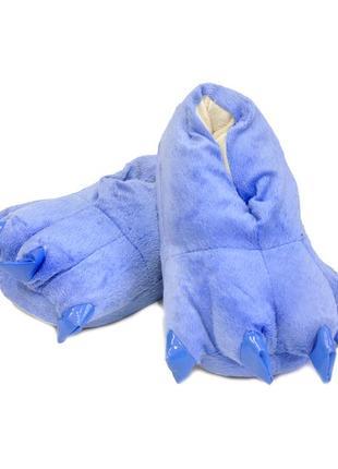 Синие тапочки для детей и взрослых с прикольными мягкими ногтями