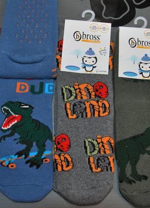 Теплые махровые носки 3-5, 5-7 лет bross бросс динозавр