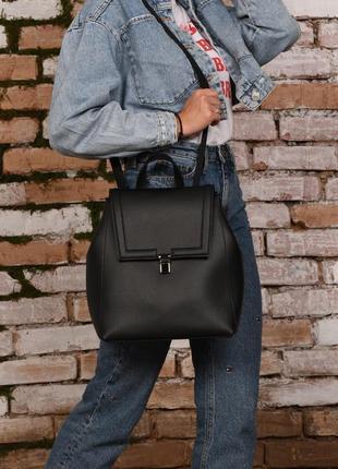 Сумка-рюкзак женский черный из искусственной кожи черного цвета