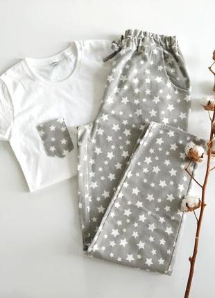 Женская пижама со штанами из фланели в звездочки