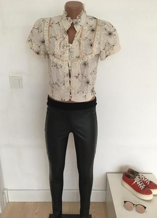 Блуза укорочённая с рюшами рубашка кофточка