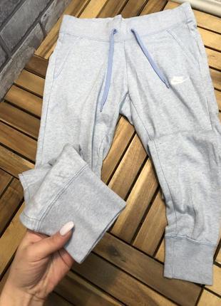 Nike голубые женские спортивные штаны брюки спортивки на манжетах5 фото