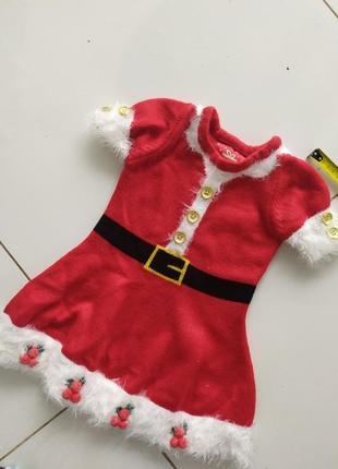 Новогоднее красное платье санты костюм