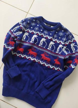 Синий новогодний свитер 10 лет
