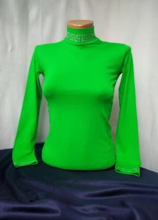 Водолазка зелёного цвета, женский гольфик