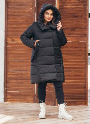 Куртка зимняя женская, пальто 71 / р.48-62 / черный