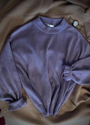 Крутий затишний лавандовий светр оверсайз