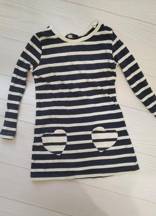 Хлопковое платье туника с карманчиками сердечками
