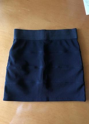 Мини юбка базовая плотная рубчик