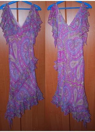 Шелковое платье с воланами в турецкие огурцы s/m