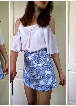 Легкая белая юбка с синим узором, фарфоровый принт, порцеляна от american apparel