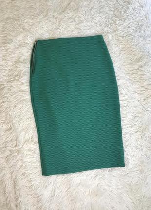 Нарядная юбка до колен с замком трикотаж s 36