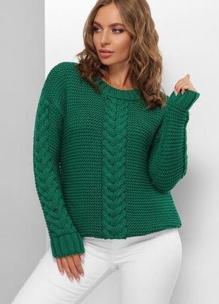 Женский однотонный зеленый мягкий свитер из крупной вязки (182 mrss)