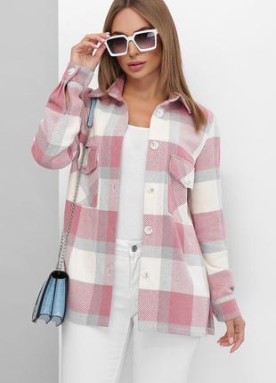 Женская розовая теплая кашемировая рубашка-ковбойка в клетку (mrss)