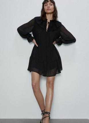 Zara шифоновое кружевное платье, платье мини, нарядное платье ажурное
