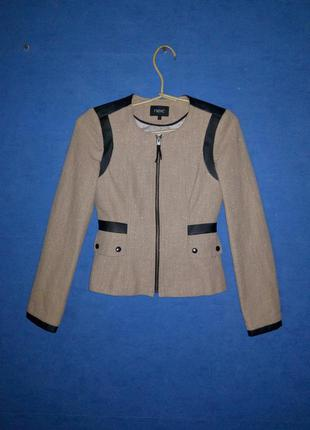 Брендовый жакет пиджак с кожаными вставками