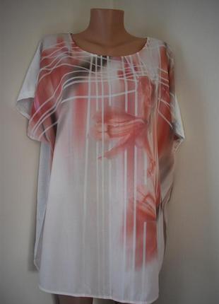 Красивая натуральная блуза с принтом большого размера