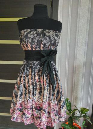 Сарафан-бюстье с красивым принтом пышная юбка
