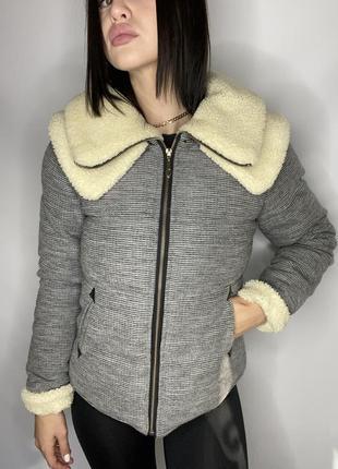 Куртка  короткая с воротником зимняя под zara
