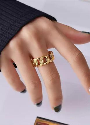 Кольцо цепь минимализм колечко под золото перстень каблучка цепочка кільце