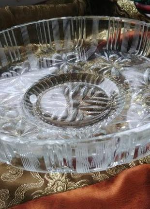 Хрустальное блюдо ссср диаметр 25см