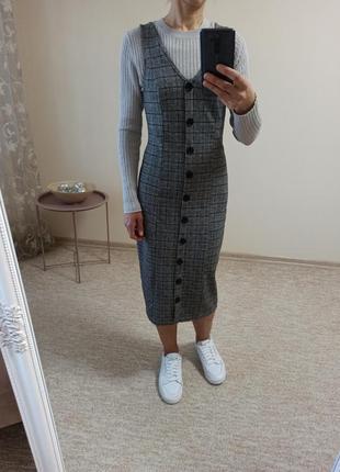 Красивое стильное длинное трикотажное прямое платье / сарафан по фигуре