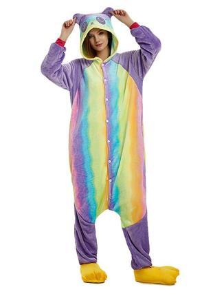 Кигуруми пижама панда радуга разноцветная радужная