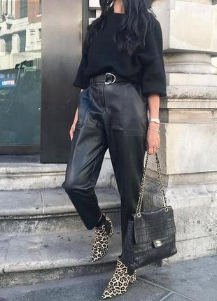 Винтажные кожаные брюки штаны слоучи высокая посадка slouchy yessica zara mango