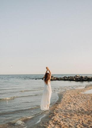 Шикарное свадебное платье в пол с фактурной вышивкой в стиле self portrait