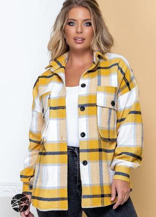 Шерстяная кашемировая теплая рубашка-пальто рубашка с принтом в клетку