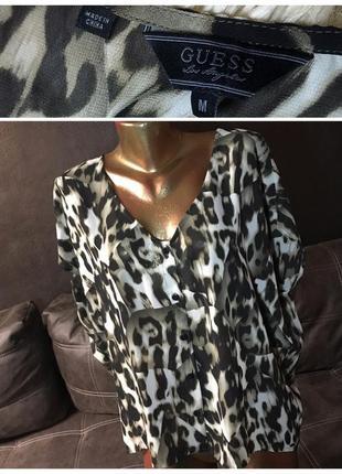 Guess оригинал леопардовая блуза рубашка блузка