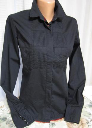 Чёрная рубашка, хлопок, стильная блузка casual/guru master degree/ скидки)