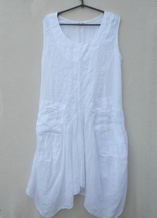 Летнее свободное платье из льна без рукавов