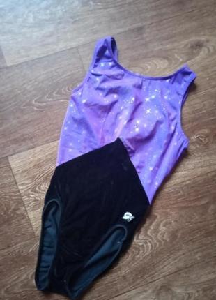 Крутой купальник для художественой гимнастики на рост 150-160  обмен