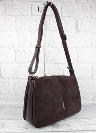 Мягкая, вместительная сумка gilda tohetti 60488-1 коричневая с замшевой вставкой