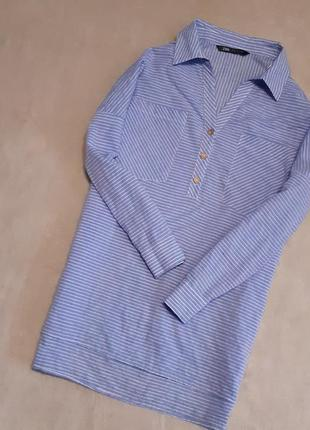 Новая с этикеткой блуза рубашка  свободная оверсайз длинный рукав хлопок р 10-14 zara