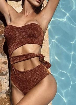 Сдельный слитный купальник с шиммером women'secret s люрекс блестящий сверкающий