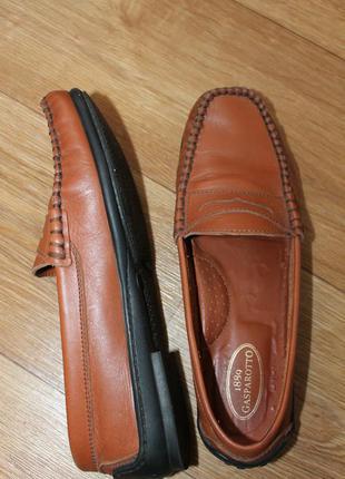 Лоферы туфли рыжие кожа