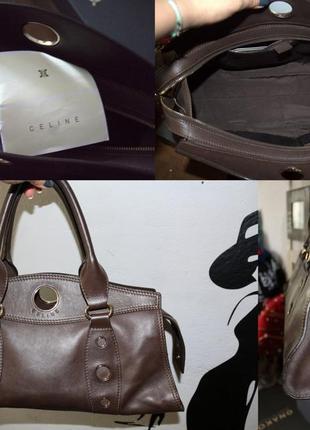 Кожаная коричневая деловая сумка celine