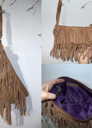 Замшевый коричневый кожаный клатч aldo с бахрамой