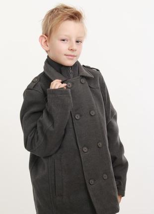 Серое пальто для мальчика minoti р.98-134
